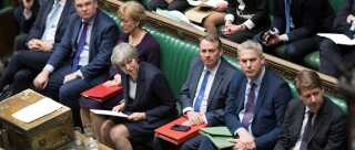 Britain's Prime Minister Theresa May reacts in Parliament following the vote on Brexit in London, Britain, March 13, 2019. UK Parliament/Jessica Taylor/Handout via REUTERS ATTENTION EDITORS - THIS IMAGE HAS BEEN SUPPLIED BY A THIRD PARTY.