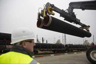 Dele af gasledningen Nord Stream 2, der forventes at blive færdigbygget i år.