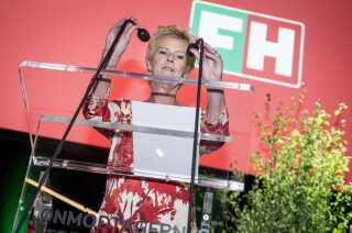 Formand for FH Lizette Risgaard taler under den nye hovedorganisation for lønmodtagere FH - Fagbevægelsens Hovedorganisations konference i KB Hallen på Frederiksberg, mandag den 8. april 2019.. (Foto: Mads Claus Rasmussen/Ritzau Scanpix)