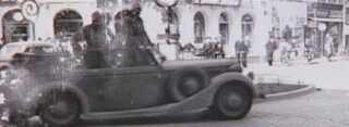 Tyske tropper kører over Lillebæltsbroen i dagene efter d. 9. april 1940
