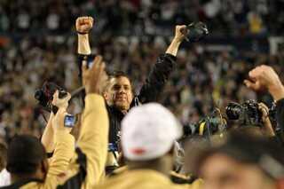 Træner Sean Payton fra New Orleans Saints efter Super Bowl-sejren