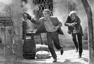 """Fra den kendte afsluttende scene i filmen """"Butch Cassidy & the Sundance Kid"""" - her sammen med Robert Redford."""