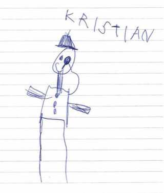 I frokostpausen sidder Brage og tegner Kristian.
