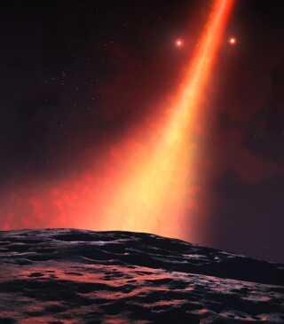 I modsætning til de fleste stjernesystemer så kredser HD 98000's skive af støv næsten vinkelret på to stjerners fælles tyngdepunkt. Her ses udsigten som den kunne se ud på en planet i støvskiven.
