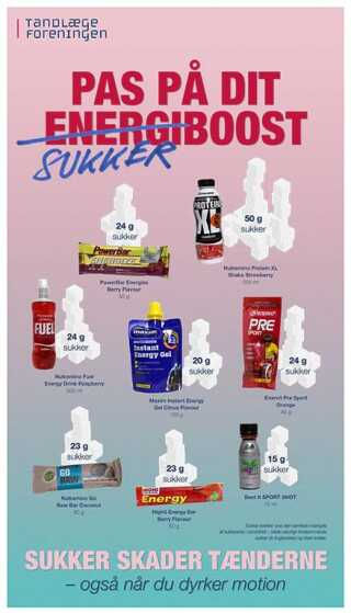 Tandlægeforeningen har samlet produkter med et højt indhold af sukker.