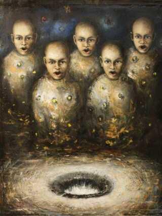 Et af de otte fundne malerier, som Jens Galsciøt ejer. Maleriet har titlen El canto del abismo, Oleo s.lino, 155x120 cm.