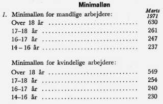 Kønsopdelte lønsatser i skoindustrien fra 1971. Fra Arbejderbevægelsens Bibliotek og Arkiv.