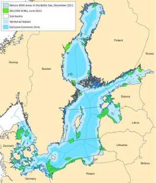 Østersøens beskyttede arealer i 2011. Medtager både Helcom-arealer og Natura 2000.