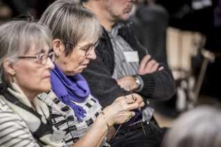 Folk lytter under debat om sundhed, ældrepleje og værdig tilbagetrækning hos Ældre Sagen i København onsdag den 6. februar 2019.. (Foto: Mads Claus Rasmussen/Ritzau Scanpix)