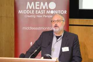 Her taler Jamal Khashoggi til en konference i London. Det skete få dage inden, han sidst blev set.