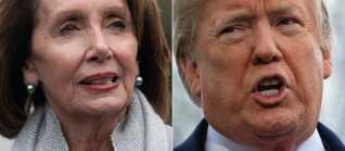 Demokraternes leder i Repræsentanternes Hus, Nancy Pelosi, og præsident Donald Trump.
