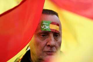 En tilhængere af det stærkt højreorienterede parti Vox.