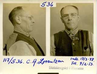 Et af de mange fangefotos, der findes af Lorentzen (1953).
