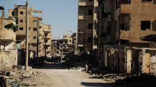 Dette er et af de kvarterer, der ser mindst beskadigede ud i downtown Raqqa.