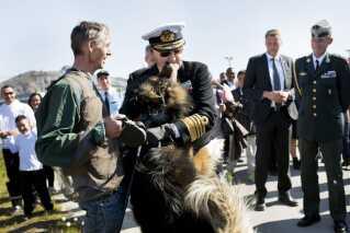 Regentparrets besøg i Grønland i 2015 i forbindelse med sommertogt med Kongeskibet Dannebrog. Prins Henrik bliver taget hjerteligt imod af en stor grøndlænderhund.
