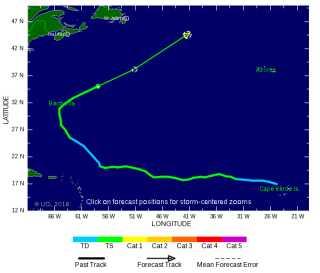 """Her ses hvordan """"Karl"""" har bevæget sig fra Cap Verde, over Bermuda og nu er på vej op i Vestenvindsbæltet. Kilde: www.tropicalstormrisk.com"""