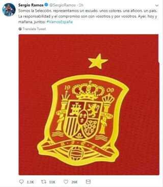 Vi er landsholdet, og vi repræsenterer vores segl, vores farver og vores land. Det er vores ansvar og løfte til jer og for jer. I går, i dag, og i morgen - sammen.   Sådan skriver Sergio Ramos på twitter.