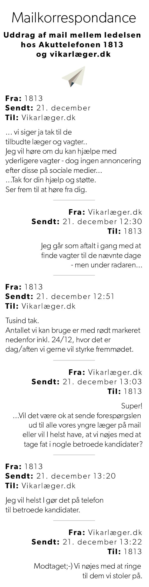 Dele af mailkorrespondancen mellem 1813 og vikarlæger.dk