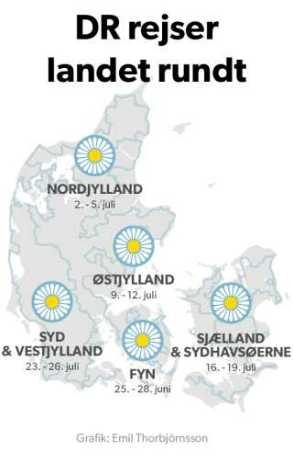 På kortet her kan du se, hvor DR Vejret rejser hen de kommende uger. Du kan sende dine sommerbilleder til vejret@dr.dk eller 1212@dr.dk.