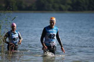Gert Schmidt har deltaget i mange løb med konen Hanne. Her er det et billede fra løbet Xterra.
