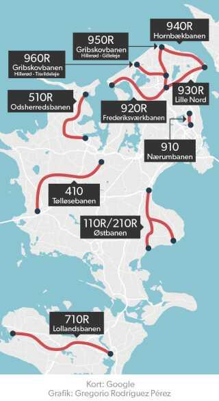 Lokaltog A/S har ni baner på Sjælland, som risikerer at blive ramt af konflikt.