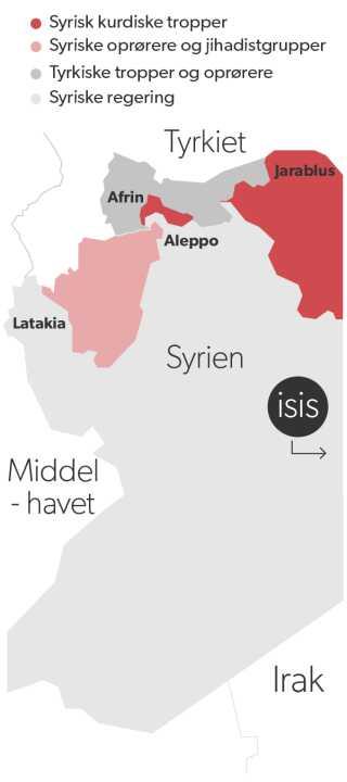 Sådan ser fronterne ud i Syrien.