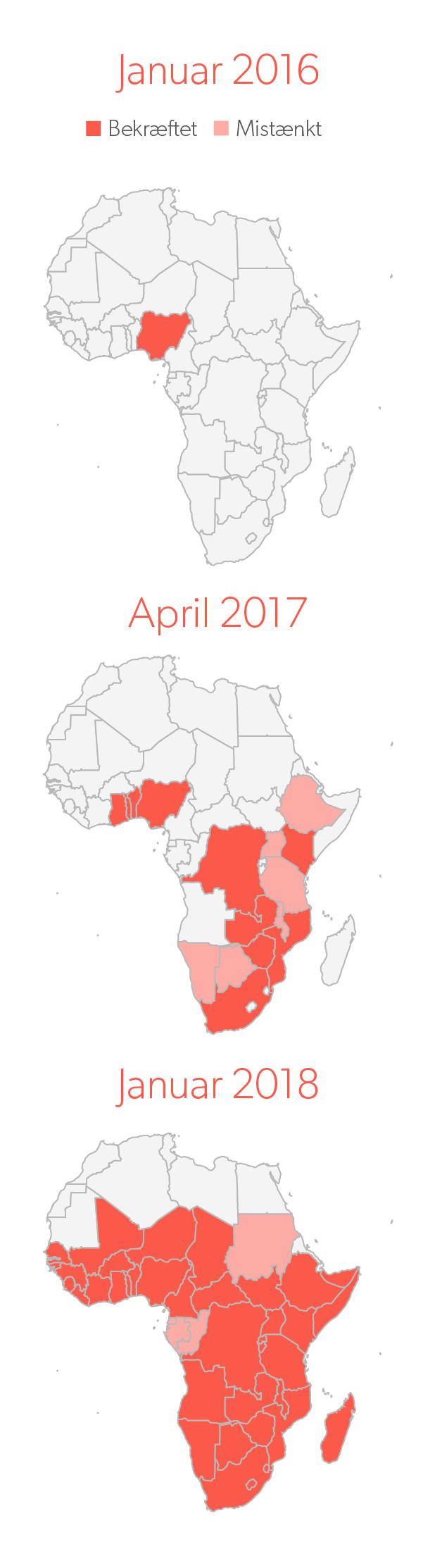 Se hærlarvernes spredning i Afrika.