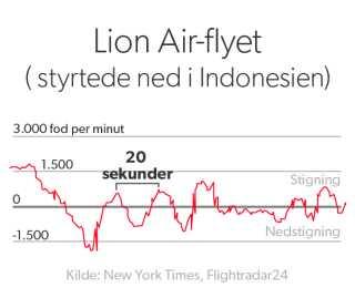 Her ser vi Boeing-flyet fra Indonesien, og hvordan det lige før styrtet bevægede sig op og ned.