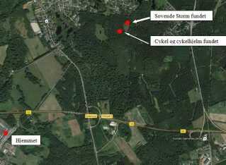 Her er ruten, som 2-årige Storm tog på sin løbecykel.