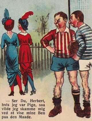 Satiretegning der gør grin med forargelsen over damernes skørtelængde. (1919)