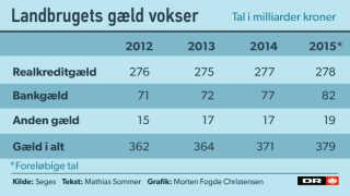 Landbrugets samlede gæld vokser og vokser. Men lånene bruges ikke til investeringer i produktionen.