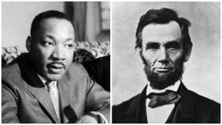 Civilreligionen er et særligt syn på samfundet, forklarer Brian Arly Jacobsen. Og den amerikanske civilreligion har sine egne martyrer, blandt andre Martin Luther King Jr. (tv.) og profeter som Abraham Lincoln (th.) forklarer religionssociologen.