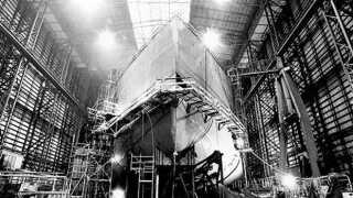 Sådan så det ud, når de store skibe var i B&W Hallerne. Kigger man på den håndtegnede skitse nedenfor, kan man godt se ligheder i udformningen.