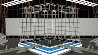 Sådan ser scenen ud i et af Claus Ziers 3D-programmer.