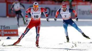De to langrendsløbere på billedet har helt sikkert ikke tid til at benytte den matematiske model ... Norske Anders Gløersen (til venstre) er på vej til at vinde foran russiske Alexey Petukhov (til højre), der sluttede på fjerdepladsen i mændenes 1,5 km Free Sprint i nordisk ved VM, den 15. december 2013 i Davos.