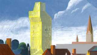 Et af de andre vindere foreslår, at der bliver arbejdet videre med et 50 meter højt tårn.