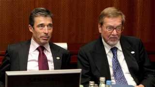 Anders Fogh Rasmussen og Per Stig Møller på et EU-topmøde i Bruxelles.