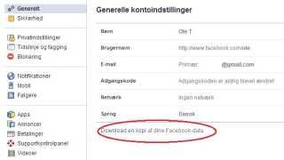 Her kan du downloade en rapport med oplysninger, som Facebook har om dig.