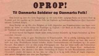 """Her ses et uddrag af det legendariske """"oprop""""-flyveblad, som tyske fly kastede ned over de danske byer om morgenen den 9.april 1940. Her opfordres danskerne på gebrokkent dansk til blandt andet at """"fortsætte det daglige arbejde og til at sørge for rolighed og orden""""."""