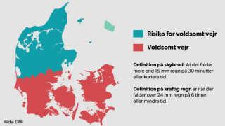 DMI varsler skybrud tirsdag for den sydlige del af landet samt Fyn og Sjælland.