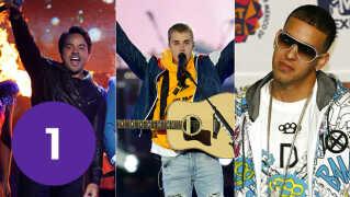 Luis Fonsi (tv.), Justin Bieber (mf.) og Daddy Yankee (th.) kan have lavet årets sommerhit.