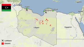Kort over Libyen