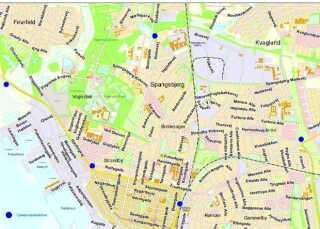 oversigtskort over cykelpumpestationer i Esbjerg, cykelpumpestationer, esbjerg