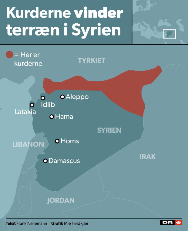 Kort over de områder, som kurderne har indtaget i det nordlige Syrien.