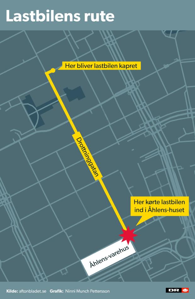 Her ses den rute, hvor lastbilen kørte. Det er en rute på flere 100 meter, inden den bragede ind i udstillingsvinduet på stormagasinet.