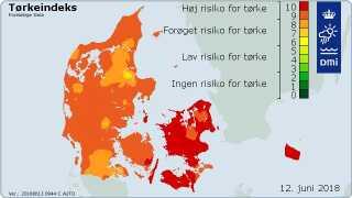 Store dele af Sjælland og Bornholm ligger i kategori 10 - altså med høj risiko for tørke.