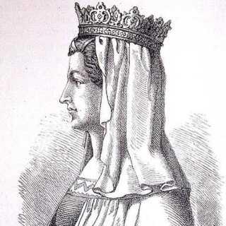 Stregtegning af Margrete i bogen 'Nordens historie' fra 1884. (© creative commons)