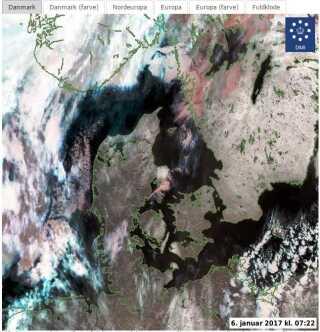 Se sneen på blandt andet Djursland og Lolland her på satellitfotoet fra i morges.