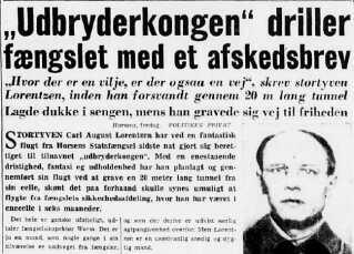 Lorentzen driller fængslet med et afskedsbrev. Politiken, den 24. december 1949.