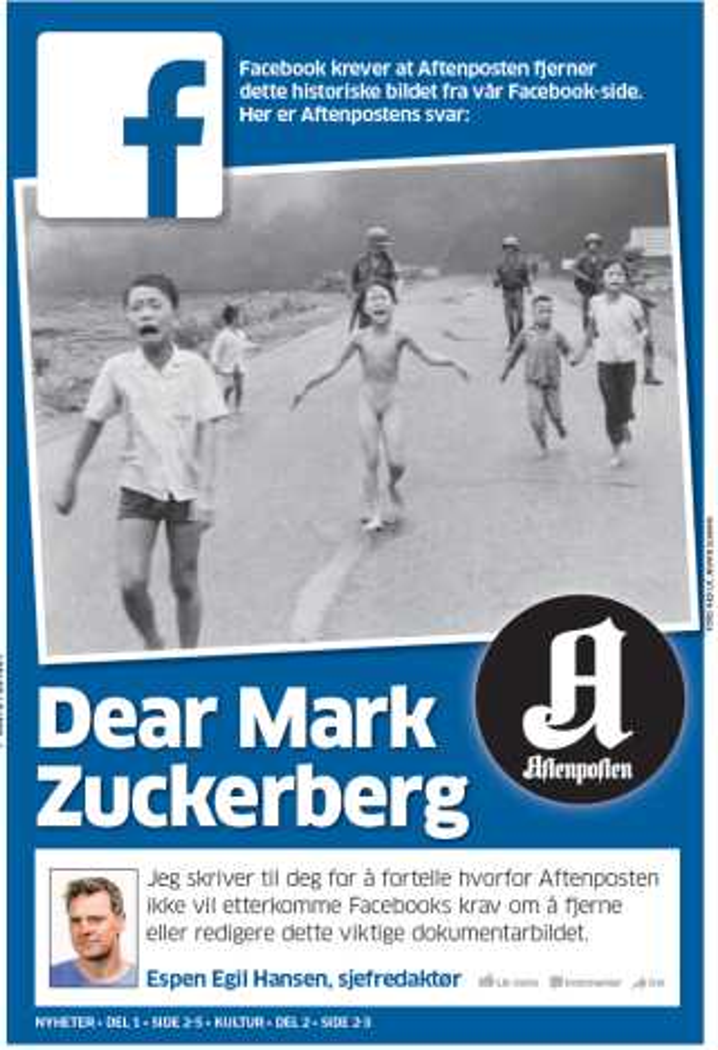 Her ses Aftenpostens forside, hvor avisen i et brev til Mark Zuckerberg afviser at fjerne billedet.